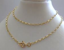 9ct Solid Yellow Gold Oval Belcher Fine Chain Necklace - 50cm's 20 Inches N72