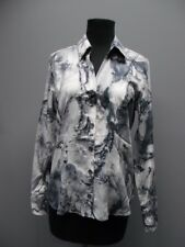 PAPERWHITE Gray Cotton Printed Collar Button Down Long Sleeve Blouse Sz 8 DD5357