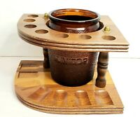 Dun Rite Wood 8 Pipe Stand Holder With Amber Tobacco Jar Unique Shape