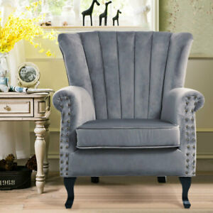 Upholstered Cocktail Tub Chair Bedroom Scallop Oyster Back Velvet Grey Sofa Seat