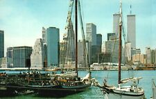 Vintage Postcard Of Ships, Twin Towers & More In New York City, NY, Lot 800*