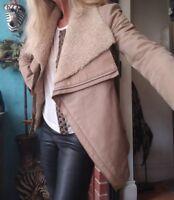 Helmut Lang Goat Leather Lamb Shearling Fur Suede Jacket Coat Sz M