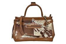 New Ladies Stylish Gladstone Bag Tan COW Fur Real Cow Leather Hand Bag