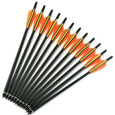 """12pk Carbon Arrows 20"""" Crossbow Bolts 4inch Vanes Hunting Archery Arrow Heads"""