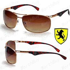 Khan Mens Designer Fashion Sports Sunglasses Shades Wrap Oval Gold Brown Retro