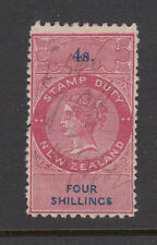 New Zealand 1867 Perf 10 x 12 1/2 Stamp Duty, Barefoot 100, 4sh Red & Blue