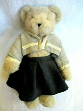 """16"""" VERMONT JOINTED  TEDDY BEAR  with jacket & charcoal skirt VGUC 1997 copyrght"""