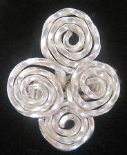 silver spiiral cocktail ring size: 1 - 15 1/2  Marie USA Handcrafted  #261
