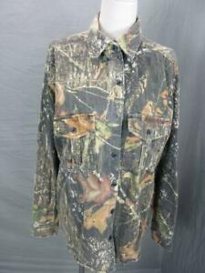 MOSSY OAK SIZE M MENS BROWN COTTON LONG SLEEVE OUTDOOR HUNTING SHIRT T829