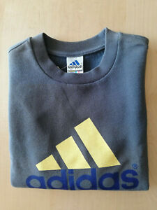 Adidas Boys Sweatshirt Sweater Pullover Sweater Grey/Yellow New