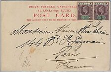 ST LUCIA -  POSTAL HISTORY - POSTCARD to FRANCE - 1903