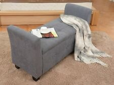 Ottoman Window Seat Grey Chenille Fabric Toy Bedding Storage Box Verona
