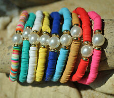 white beads women's elastic bracelets 10pcs Beach Bohemia colorful clay with
