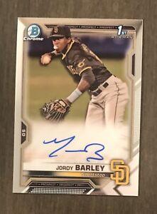 2021 Bowman Chrome Jordy Barley 1st Auto #CPA-JBA San Diego Padres