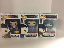 Pop Funko Supernatural Lot of 3 Castiel/Steve,Bobby Singer,Castiel w/Wings