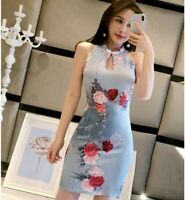Summer Chinese Tradition Women's Mini Cheongsam Dress Qipao for Evening Party