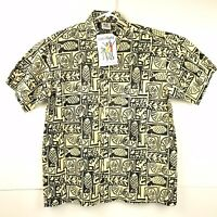 NWT Rum Reggae Mens Hawaiian Shirt Small Short Sleeve Yellow Wearable Art