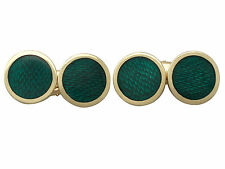 Guilloché Enamel and 18 ct Yellow Gold Cufflinks - Vintage Italian Circa 1950