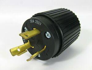 Lot of 100 _ Hubbell 2P3W 30A 250V Twist Locking Male Plug NEMA L6 30P Black