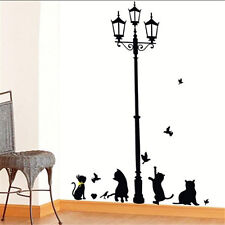 Hot Sale Removable Black Lamp Cat Bird Wall Sticker Animal Home Decoration