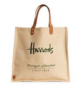 Harrods Food Halls Jute Bags Tote Bag Supermarket Grocery London Luxury Store UK