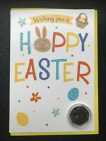 Benjamin Bunny Easter commemorative coin mounted on an Easter greetings card