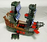 Imaginext Large Black Pirate Ship White Blue Sails Fisher Price Mattel 2016 EUC