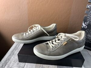 ECCO Soft EU 39 Gray Leather Lace Up Sneaker Shoes