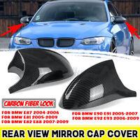 For BMW E81 E82 E87 E90 E91 PRE-LCI Carbon Look Side Rearview Mirror Cover Cap