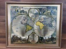 More details for vintage world map by frederik de wit 1616 - 1698 gold foil shiny reflective 50's
