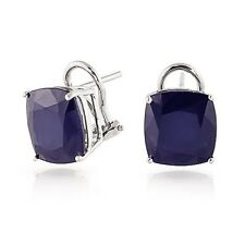 8 Ct Real Cushion Blue Sapphire Gemstone Earrings Solid 14K White Gold Studs