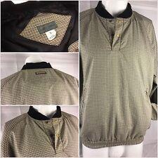 Descente Golf Wind Shirt Large Tan Check Poly 2-Snap Long Sleeve Mint Ygi 85tt