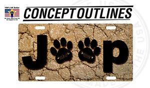 Camouflage Aluminium License Plate Tag Custom For Car Room T-Jeep Paw #1