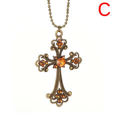 Women Vintage Long Sweater Chain Crystal Pendant Costume Jewelry Necklaceh5fs B
