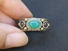 Solid Adjustable Tibetan 3-color Copper Green Jade Garnet 3 Gemstone Dotted Ring