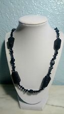 Men's 31 Inch Design with Black Lava Stone,Glass,Wood,Onyx Bead Necklace
