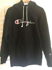 Used Authentic Champion Reverse Weave Black Script Logo Hoodie XL Men Women