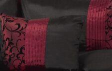 New INDULGENCE Faux Silk Burgundy/Wine & Black Flocked Filled Breakfast Cushion