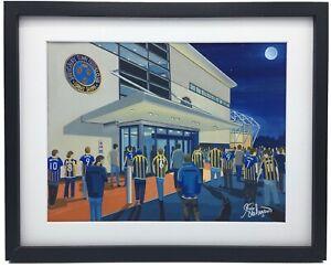 Shrewsbury Town FC New Meadow Stadium High Quality Framed Art Print. Approx A4.