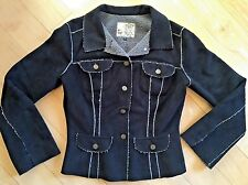 FOR JOSEPH FORTUNE Black Microsuede Corduroy Jacket Grey Faux Shearling M 8 10