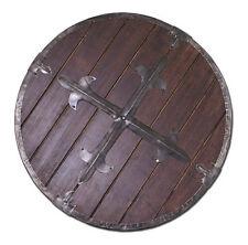 Battle Merchant Rundschild Holz mit Stahlbeschlägen 61cm Schild Mittelalter LARP