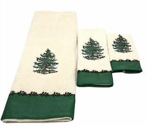 Spode Christmas Tree Bathroom Towel Set Bath Hand Finger Linens Baltic Linen Co