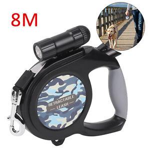 50KG Large Dog Lead Leash Strong Retractable Extendables Lockable Tapes 8M Black