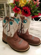 Girls Women's Ariat Fatbaby 4LR Teal and Brown Western Cowboy Boots Sz 4, 35.5