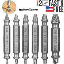 6Pcs Damaged Screw Extractor Speed Out Drill Bits Tool Set Broken Bolt Remover