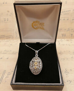 Vintage 925 Sterling Silver Citrine & Marcasite Locket Pendant Necklace with Box
