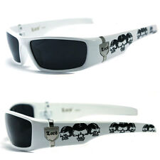 MEN GANGSTER SUNGLASSES LOCS BIKER SKULL PATTERN ON ARMS WHITE FRAME