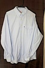 VGC BROOKS BROTHER 346 MENS LARGE SKY BLUE SOLID LONG SLEEVE BUTTON FRONT SHIRT