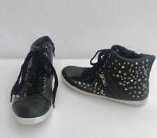MIA BLACK VEGAN LEATHER WITH STUDS, SKULLS & ZIPPERS SNEAKERS SHOES SIZE 6.5