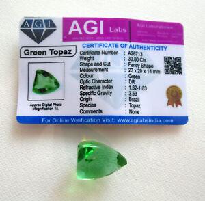 Beautiful 39.80 Ct Fancy Shape Green Topaz Loose Gemstone Certified